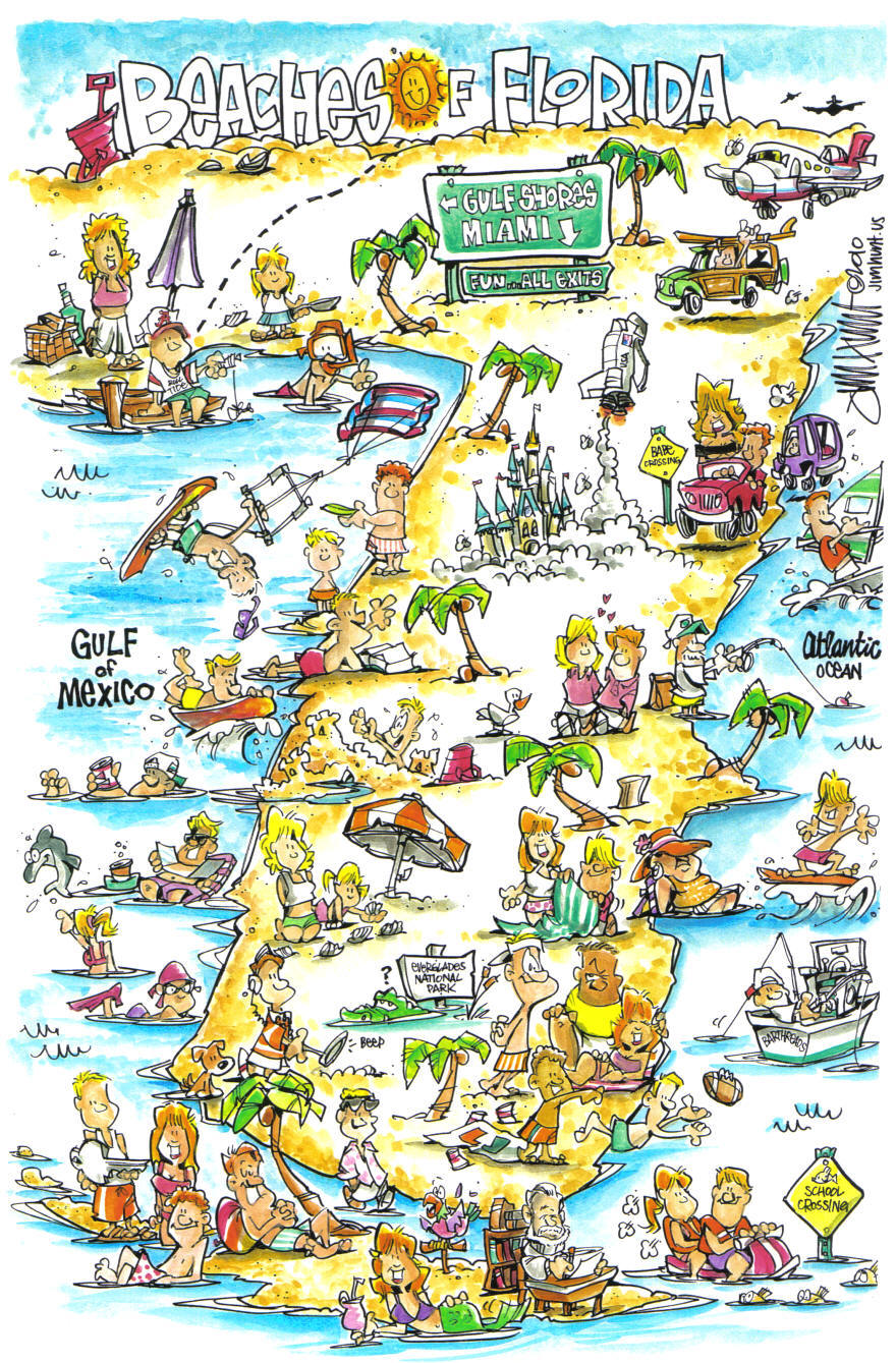 cartoon maps jim hunt illustration